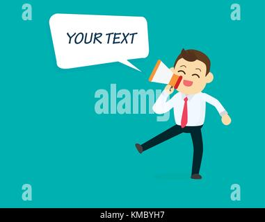 Businessman with megaphone and speech text box.Business concept.happy character talking loudspeaker with text box - Stock Photo