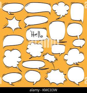 Set of Cartoon, Comic Speech Bubbles, Empty Dialog Clouds in Pop Art Style. - Stock Photo