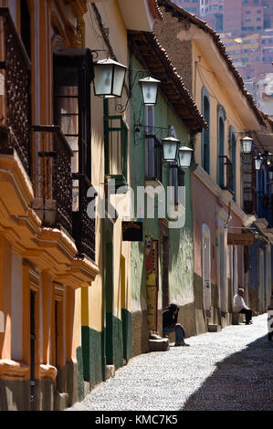The old cobbled street of Calle Jaen in the colonial area of La Paz in Bolivia, South America. - Stock Photo