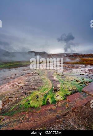 Geothermal Area of Geysir and Strokkur, Iceland - Stock Photo