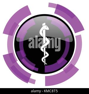 Emergency pink violet modern design vector web and smartphone icon. Round button in eps 10 isolated on white background. - Stock Photo