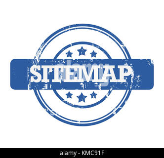 Blue SEO Sitemap stamp with stars isolated on a white background. - Stock Photo