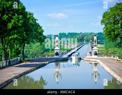 The canal bridge aqueduct designed by Eiffel crosses the Loire at Briare in the Loiret region of France, near Orleans - Stock Photo