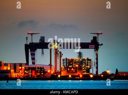 Massive Chantiers de l'Atlantique shipyard construction dry docks. Saint-Nazaire, France. Ocean liner ship building - Stock Photo