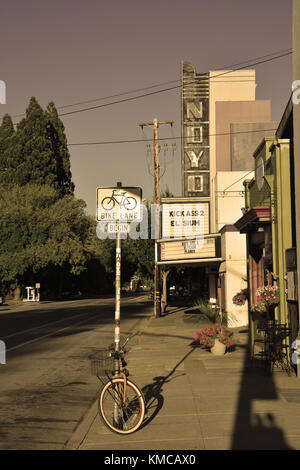 WILLITS, CA, USA - AUGUST 15: Willits cinema in sepia tone on August 15, 2013. Willits is a heart of Mendocino County, - Stock Photo