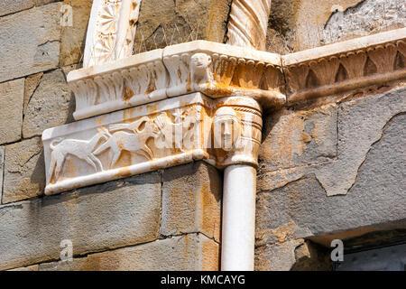 Marble carved in Church of San Giovanni Battista of Riomaggiore, Cinque Terre, province of La Spezia, Liguria region, - Stock Photo