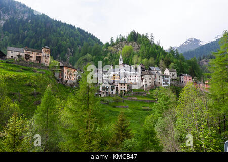 Fusio, district of Vallemaggia in the canton of Ticino, Switzerland. - Stock Photo