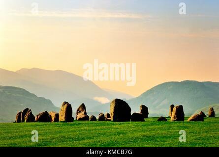 South over Castlerigg prehistoric stone circle near Keswick, in Lake District National Park, Cumbria, England. Midsummer - Stock Photo
