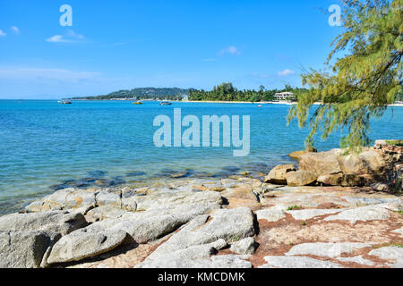 Beautiful seascape of rocky seashore sandy beach in Samui island, Thailand - Stock Photo