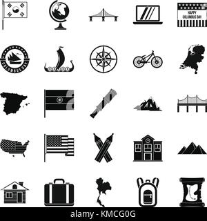 New map icons set, simple style - Stock Photo