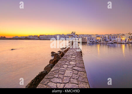 The sunrise at the port of Naousa in Paros island, Greece - Stock Photo