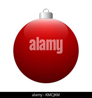 Vector red glossy Christmas ball isolated on white background. - Stock Photo