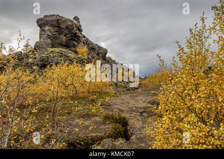 DIMMUBORGIR - known locally as the Dark Fortress or Black Rock - Stock Photo