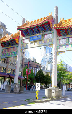 The entrance gate to the Vancouver Chinatown. - Stock Photo
