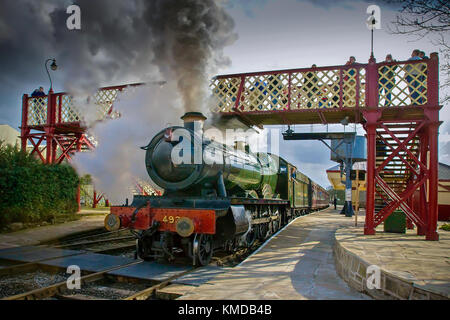 Steam engine Kinlett Hall at Ramsbottom station on the East Lancashire Railway. - Stock Photo