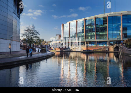 Birmingham City Centre Buildings Reflected on Surface of Canal - Stock Photo