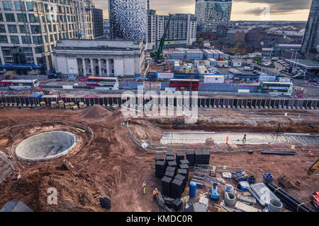 BIRMINGHAM, UK - DECEMBER 01, 2017: City centre construction in progress. Paradise Project in progress - Stock Photo