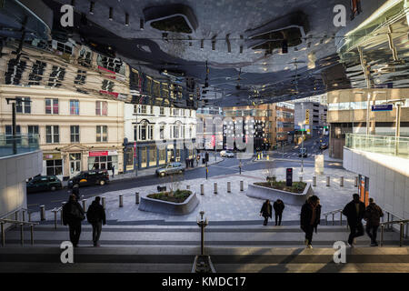 BIRMINGHAM, UK - DECEMBER 01, 2017: View from Grand Central entrance over busy city streer