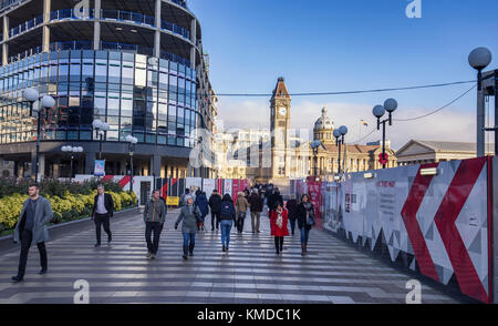 BIRMINGHAM, UK - DECEMBER 01, 2017: People on Paradise Pathway with  Big Brum Clock tower and Birmingham Museum - Stock Photo