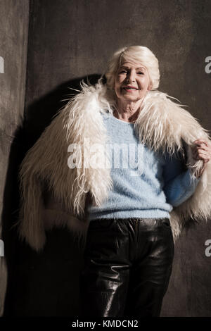 Granny in fur coat