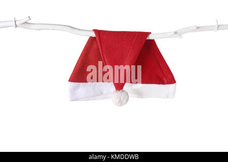 Santa Hat on White Background - Stock Photo