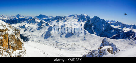 Winter Dolomites panorama, view from Piz Boe slopes towards Mt Marmolada - Stock Photo