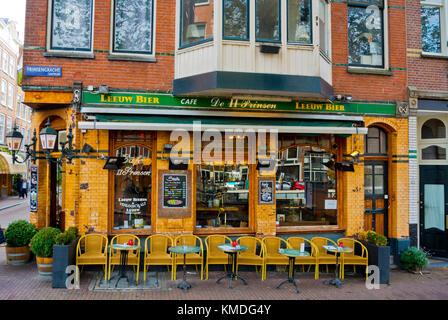 Cafe bar, Prinsengracht, Amsterdam, The Netherlands - Stock Photo