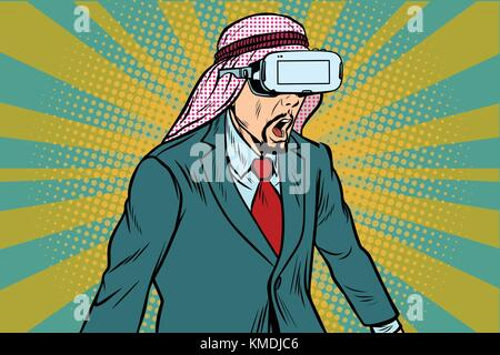 Surprised Arab businessman in VR glasses - Stock Photo