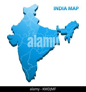 Highly detailed three dimensional map of India with regions border - Stock Photo