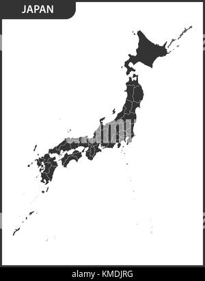 The detailed map of the Japan with regions. - Stock Photo