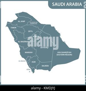 Map of Saudi Arabia the region Tabuk is pulled out isolated on