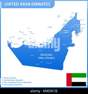 The detailed map of the UAE with regions or states and cities, capitals. United Arab Emirates national flag - Stock Photo