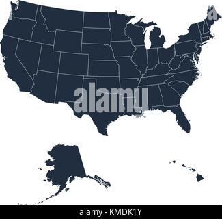 The detailed map of the USA including Alaska and Hawaii. The United States of America - Stock Photo