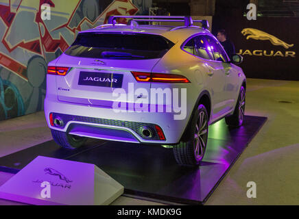 KIEV, UKRAINE - OCTOBER 27, 2017: White modern luxury Jaguar E-PACE P300 on the art exhibition Jaguar The Art of - Stock Photo