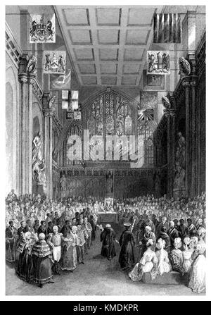 19th century steel engraving of the interior of Guildhall, London, during the inauguration of the Lord Mayor of London.