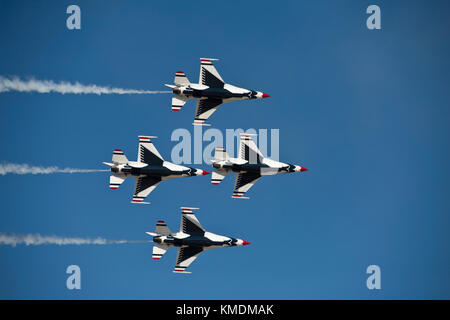 USAF Thunderbirds flying in the 'diamond opener' formation at the Gowen Thunder Airshow on October 14 2017 in Boise - Stock Photo