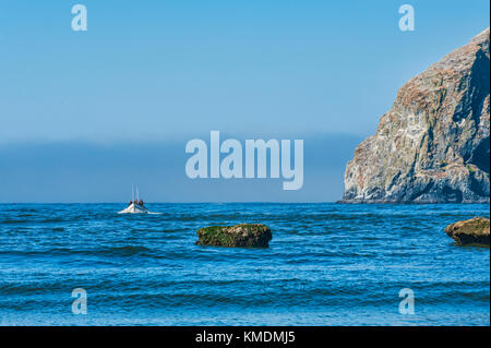 Pacific City, Oregon, USA - July 2, 2015: A dory boat passes by Haystack Rock as he makes his approach to land on - Stock Photo