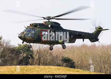 A Eurocopter AS 532 Cougar military transport helicopter of the Royal Netherlands Air Force at the Gilze Rijen Air - Stock Photo