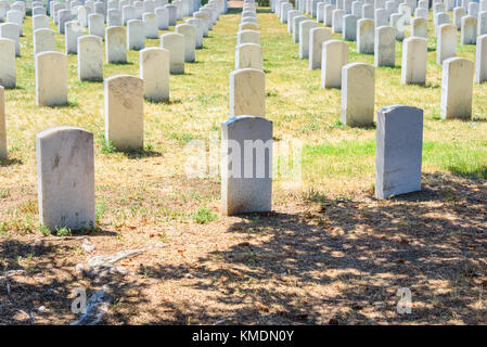 Custer National Cemetery at Little Bighorn Battlefield National Monument, Montana, USA. - Stock Photo