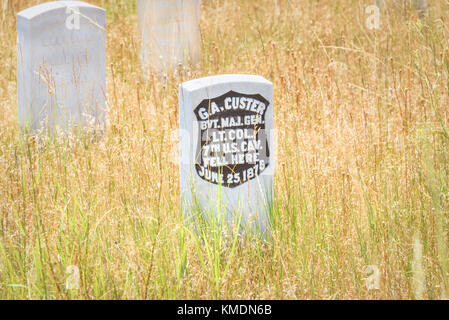 Little Bighorn Battlefield National Monument, MONTANA, USA - JULY 18, 2017: General George Armstrong Custer headstone. - Stock Photo