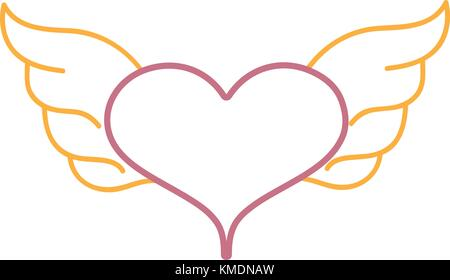 Color Line Heart With Wings Symbol Love Art Stock Vector Art