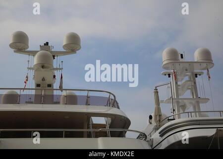 communications tower modern warship - Stock Photo