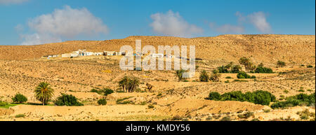Typical Tunisian landscape at Ksar Ouled Soltane near Tataouine - Stock Photo