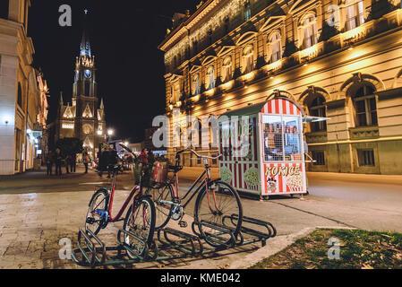 Name of Mary Church and Freedom Square in Novi Sad - Stock Photo