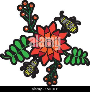 bees flying over some flowers branch leaves Stock Photo