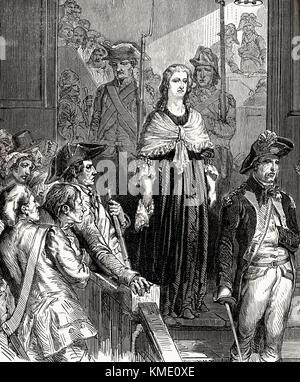 Execution of Marie Antoinette or Maria Antonia Josepha Johanna, 1755 - 1793, Queen of France - Stock Photo