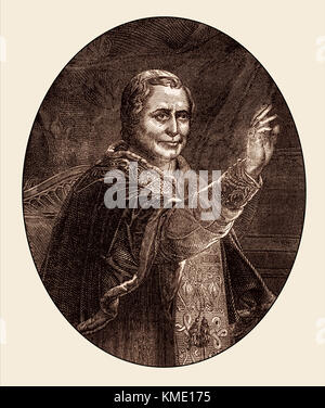 Pope Pius IX, 13 May 1792 – 7 February 1878, reigned as Pope from 16 June 1846 to his death - Stock Photo