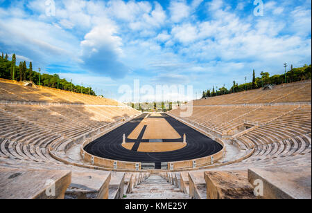 Panathenaic stadium in Athens, Greece (hosted the first modern Olympic Games in 1896), also known as Kalimarmaro - Stock Photo