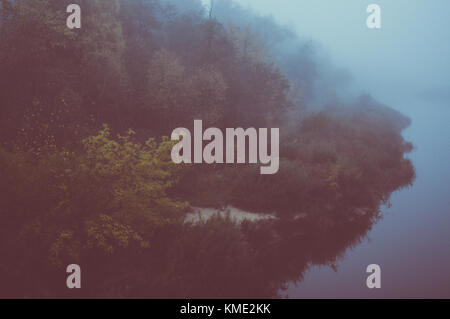 Misty morning on wild island. - Stock Photo
