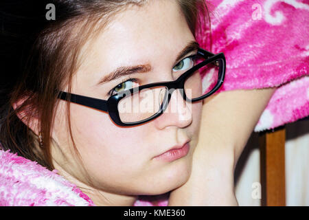 Portrait of a girl with glasses - Stock Photo